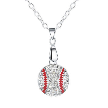 Baseball Pendant Necklace Silver Charm Bling Jewelry