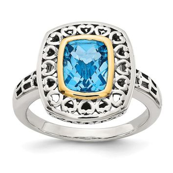 Sterling Silver Two Tone Silver And Gold Plated Sterling Silver w/Antiqued Blue Topaz Ring