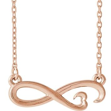 14k White, Yellow or Rose Gold Infinity Heart Necklace, 16-18 Inch