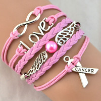 Breast Cancer Love Charm Pink Wax Braided PU Leather Awareness Ribbon Bracelet