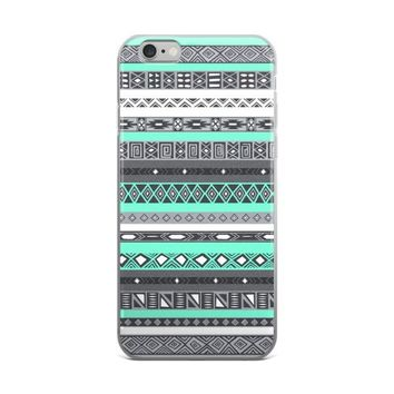 Turquoise Boho Aztec Pattern iPhone case
