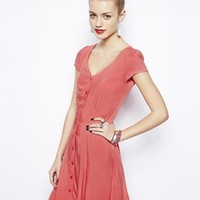 New Look Button Front Lattice Back Skater Dress