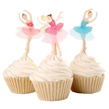 cake toppers dancing girl paper cards banner for Cupcake Wrapper Baking Cup birthday tea party wedding decoration baby shower Wh