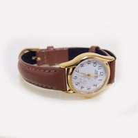Women's Casio Gold Watch ~ with tan leather strap and cat detail