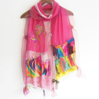 Pink scarf, Multi-colored scarves, Designer accessories, Christmas gifts, Women's Fashion, Design shawl, Gift options, Natural linen scarf