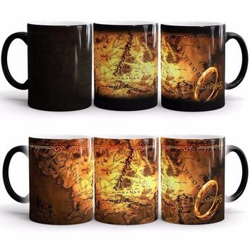 the lord of the rings mugs middle earth map mug ceramic transforming magic heat reveal coffee mug heat changing color beer water