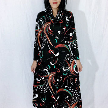 Vintage 60s Mod Black Flower Swish Pattern Polyester Fold Over Cowl Neck Long Sleeve Aline Maxi Dress M