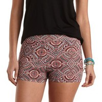 Stretchy Tribal Print Bike Shorts by Charlotte Russe - Multi