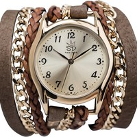 SARA DESIGNS OLIVE CHAIN WRAP WATCH