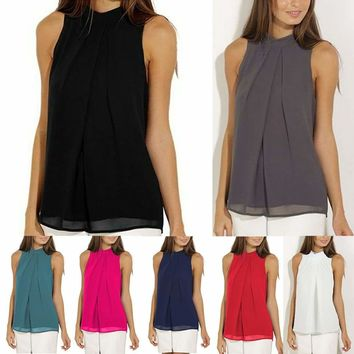 Women's Summer Chiffon Sleeveless Vest High Halter Neck T Shirt Blouse Tank Top