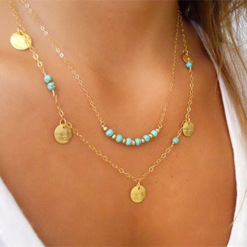 Gift Jewelry Stylish Shiny New Arrival Accessory Double-layered Turquoise Necklace [7298069831]