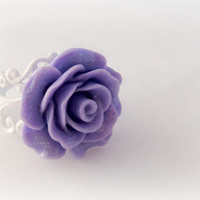 Purple rose glitter filigree ring, shabby chic jewelry, floral accessories