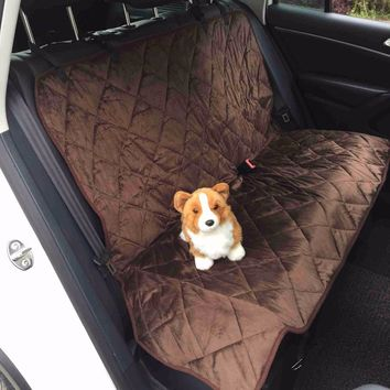 Back Bench Seat Covers Waterproof Short Plush Quilted Fabric Car Interior Travel Accessories Car Seat Covers Mat for Pets Dogs