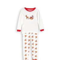 "Leveret ""Santa On A Sleigh"" 2 Piece Pajama 100% Cotton (Size 6M-5T)"