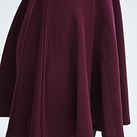 Pins & Needles Crepe Skater Skirt in Wine - Urban Outfitters