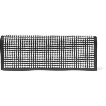 Saint Laurent - Fetiche crystal-embellished glossed-leather clutch
