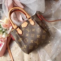 """Louis Vutitton"" Retro Fashion Letter Logo Print Single Shoulder Messenger Bag  Women Mini Dumpling Bag Handbag"