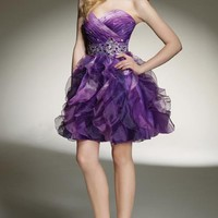 Purple Ombre Pleated & Ruffle Beaded Organza Empire Waist Sweetheart Prom Dress - Unique Vintage - Homecoming Dresses, Pinup & Prom Dresses.