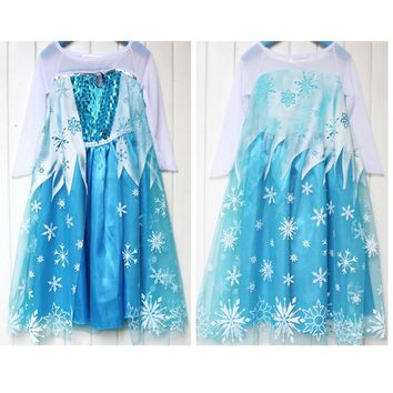 110cm-150cm Light Blue Frozenly Dress Summer Elsa & Anna Snow Princess Dresses Party Costume Holloween Cosplay For Children Kids