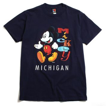 University of Michigan Mickey Mouse Colorful Letters T-Shirt Navy (Large)