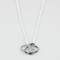 Full Tilt Triple Heart Charm Necklace Silver One Size For Women 24486314001
