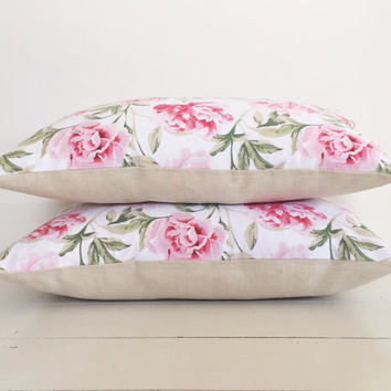 Pink peonies & natural european linen cushion cover - floral designer lumbar cushion - FREE SHIPPING Australia wide