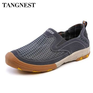 Tangent NEW Summer Mesh Casual Men Shoes Suede Leather Patchwork Loafers Men Breathable Slip-on Flats Man Rubber Shoes XMR2637
