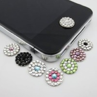 New Bling Rhinestone Diamond Crystal Home Button Sticker for iphone