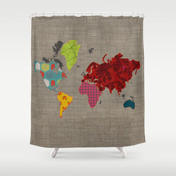 Simi's Map of the World Shower Curtain by Simi Design
