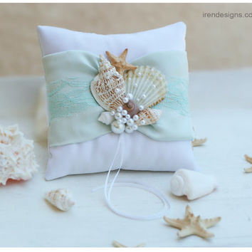 Beach Ring Bearer Pillow. Ring Pillow. Aquamarine Ring Pillow. Sky Blue Bearer Pillow.