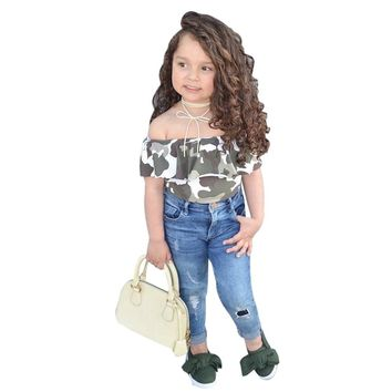 Baby girls set Toddler Kids Baby Girl Off Shoulder Camouflage T Shirt Tops Pants girls Clothes Set