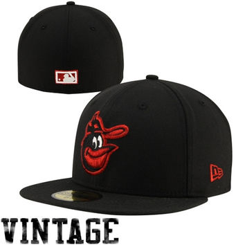 New Era Baltimore Orioles Cooperstown Collection Head 59FIFTY Fitted Hat - Black