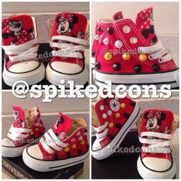 ICIKGQ8 mickey or minnie mouse spike studded converse toddler infant