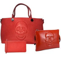 Mechaly Women's Skully Red Vegan Leather Skull Handbag, Crossbody, Wallet Set