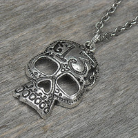 Silver Lucky 13 Skull Necklace, Day of the Dead, Punk Rock, Rock n Roll, Heavy Metal,