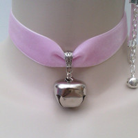 Huge JINGLE BELL (1 inch)  Drop Charm Baby Pink 22mm Velvet Ribbon Choker Kitty Cat Collar -bz... or choose another colour :)