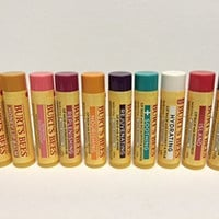 10 Pack Multi Flavor Burts Bees Assortment Lip Balms (Original, Acai, Pomegranate, Island (Passionfruit), Pink Grapefruit, Hydrating (Coconut/pear), Wild Cherry, Honey, Medicated (Eucalyptus) and Mango)