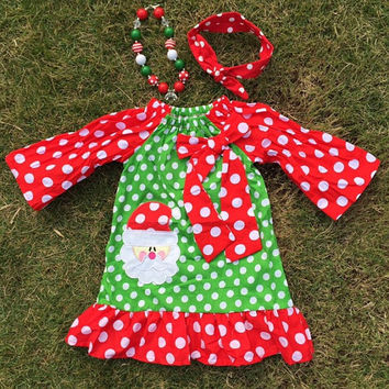 Polka Dot Santa Dress. Little Girls. Toddler. Photo Prop. Bubblegum Necklace. Headband. Christmas Dress. Baby Girls. Boutique Dress. Holiday