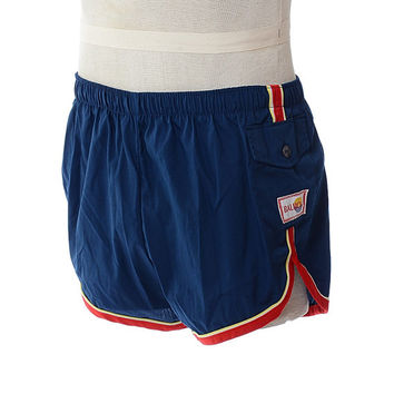 Vintage 70s Navy Blue Balboa Swim Trunks 1970s Retro Swimwear Swim Suit Hipster Beach Shorts / Mens 36