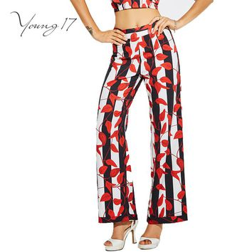 women summer patchwork mid-waist red wide leg pants elegant party pattern floral pants