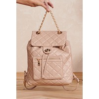 Looking Sharp Quilted Backpack (Natural)