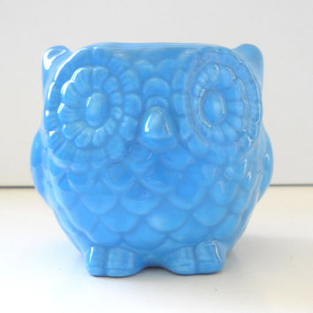 Owl Planter Ceramic Mini Owl Desk Planter Vintage Design in Turquoise Blue Office Gift Succulent Pot