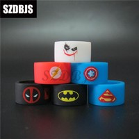 Batman Dark Knight gift Christmas 5pcs/lot E cigarette atomizer silicone rubber vape band Superman Batman Deadpool Joker ring for mechanical mods vape rubber AT_71_6