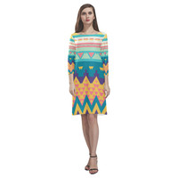 Pastel tribal design Rhea Loose Round Neck Dress(Model D22) | ID: D1412144