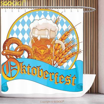 Funky Shower Curtain Oktoberfest Decorations Collection Circle Shape Frame with Beer Pretzel Wheatears German Culture Cheerful