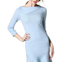 Blue Trumpet Hem Long Sleeve Bodycon Knit Dress