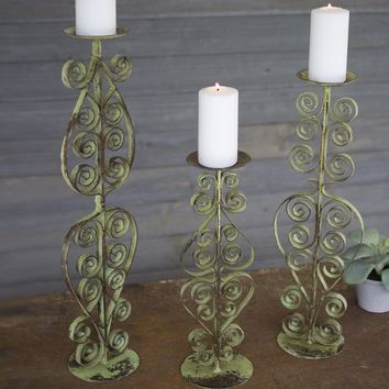 Metal Candle Stands (Set of 3) ~ Antique Green