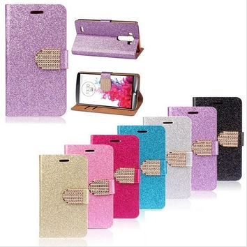 Luxury Bling Phone Shell Glitter Leather Case With Card Slots for iPhone 5 5c 6 6 Plus/Samsung Galaxy S4 S5 S6 S6 Edge/ Note 3 /4/LG G4 = 1931881156