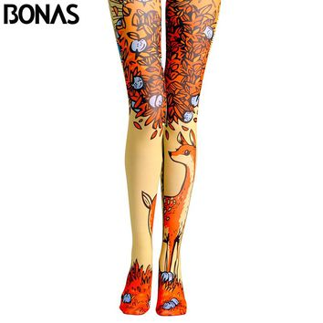 Elk Print Tights Pantyhose Female Spring Cotton Leggings Fashion Autumn Cartoon Sun Pantyhose Seamless Pattern Tights
