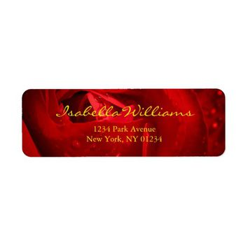 Red Rose Photo with your Name Adress Label